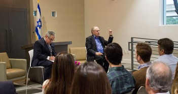Famed lawyer, author and political commentator talks to students about Israel's impact on the US Presidential elections Wednesday night at the Braman Miller Center for Jewish Student Life. Giancarlo Falconi // Staff Photographer