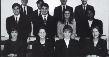 Marco Rubio, now Florida's senator, poses with the University of Miami Law School's International Moot Court for the 1995 law school yearbook.