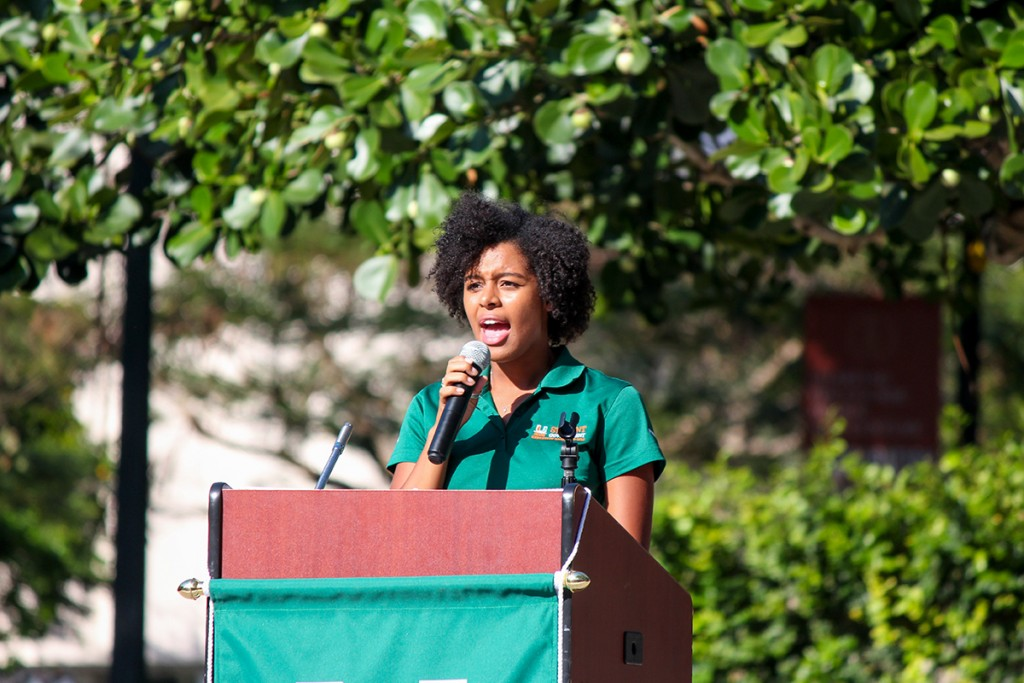 "Senior student government president Brianna Hathaway speaks to the student body during her ""State of the U"" address Wednesday afternoon at the Rock. Hallee Meltzer // Photo Editor"