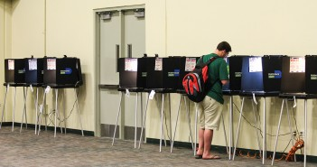 A student casts his ballot for the Florida Primary Tuesday afternoon in the BankUnited Center. UM hosted one of the polling centers for Miami-Dade County. Victoria McKaba // Assistant Photo Editor