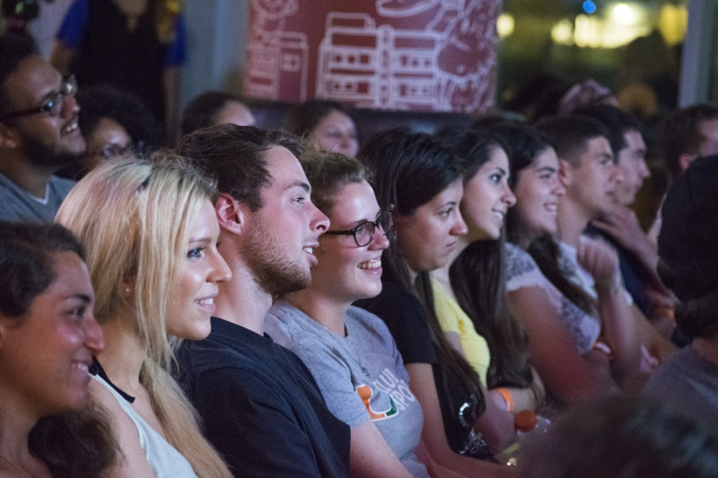 Students watch Dave Coulier's comedy show at the Rathskeller Wednesday night. Evelyn Choi // Staff Photographer