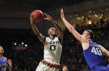 Sophomore guard Ja'Quan Newton (0) goes up to shoot during the Hurricane's win over Duke in January. With the departure of senior Angel Rodriguez, Newton will have control of the offense next season. Victoria McKaba // Assistant Photo Editor