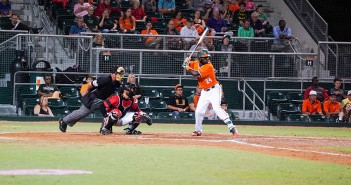 Junior left fielder Jacob Heyward (24) prepares to swing during his at-bat Saturday night at Alex Rodriguez Park at Mark Light Field. Hayward hit a two-run home run during the Hurricanes' 6-3 victory over Louisville. The Canes won the series 2-1 following their loss on Sunday. Hunter Crenian // Contributing Photographer