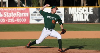 Sophomore right-hander Jesse Lepore (55) pitches during the men's baseball win over Bethune-Cookman Wednesday night at Alex Rodriguez Park at Mark Light Field. The Hurricanes are anticipating their ACC matchup against Clemson this weekend. Victoria McKaba // Assistant Photo Editor