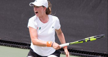 Sophomore Sinead Lohan plays in the doubles competition Friday against Virginia at the Neil Schiff Tennis Center. Lohan won her singles match Sunday morning as the Canes defeated Boston College 7-0. Shreya Chidarala // Staff Photographer