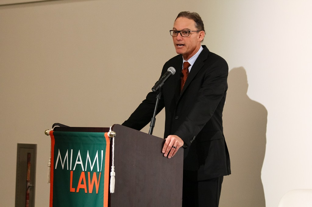 Miami Law alumnus and former Chicago Bears coach Mark Tresman speaks at the Entertainment and Sports Law Symposium Friday morning. Kawan Amelung // Staff Photographer