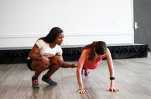 UM alumna Nicole Chaplin coaches Junior Jessi DiPette during Monday's Fitness Camp in the Activities Room of the Shalala Student Center. The class engaged students and faculty as part of UHealth's Week of Well-Being. The Week of Well-Being continues through Friday with events such as Outdoor Yoga and Zumba on the Miller School and RSMAS campuses. Erum Kidwai // Staff Photographer