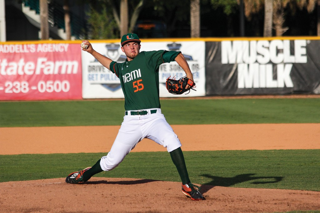 Sophomore right-hander Jesse Lepore (55) pitches during the men's baseball win over Bethune-Cookman in March at Alex Rodriguez Park at Mark Light Field. Lepore pitched seven shut-out innings in the Hurricane's win over FGCU Tuesday night in Fort Meyers. Victoria McKaba // Assistant Photo Editor'