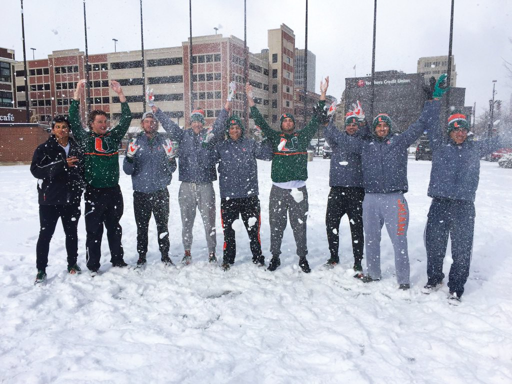 Members of the men's baseball team play in the snowfall in Notre Dame Saturday. Two of the baseball games were cancelled due to the inclement weather. Photo courtesy Camron Ghorb