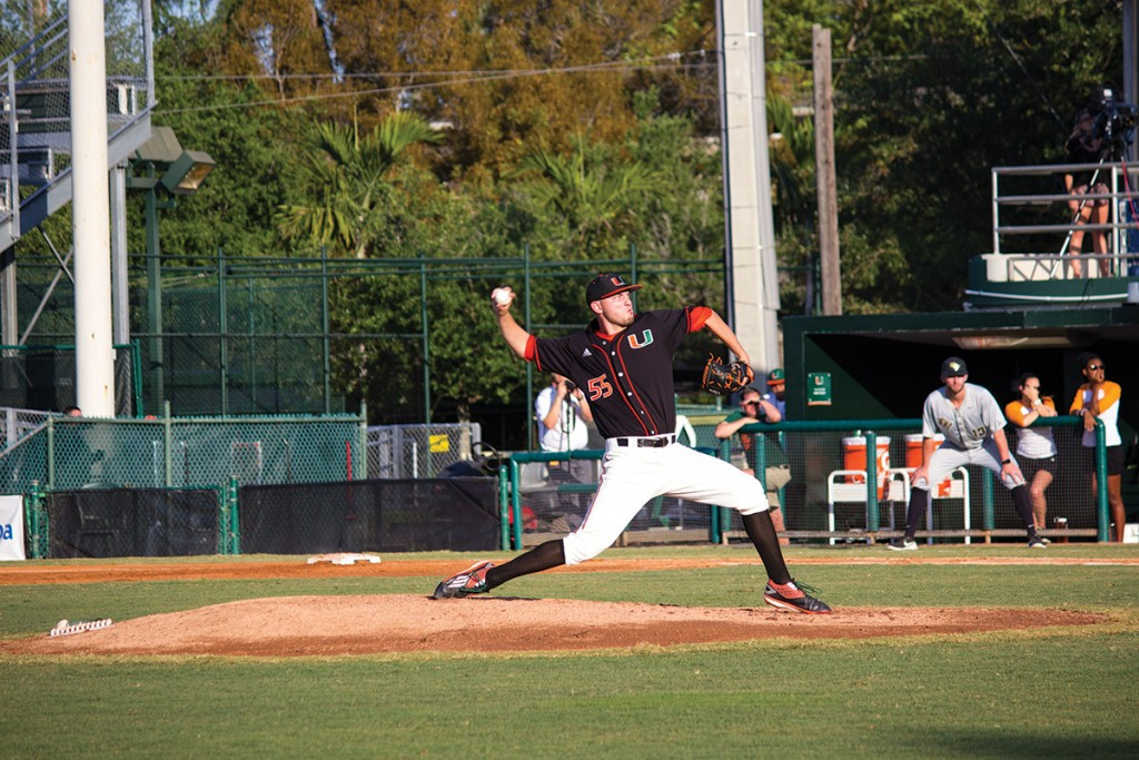 Sophomore right-hander Jesse Lepore (55) throws a pitch during the men's baseball win over UCF Wednesday night at Alex Rodriguez Park at Mark Light Field. Giancarlo Falconi // Staff Photographer