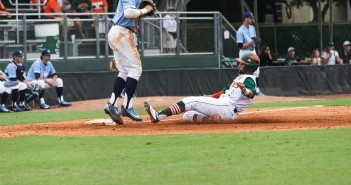 Junior designated hitter Randy Batista (2) slides into third during the Hurricanes' win over UNC in April. Batista had 2 hits during the Canes' 9-0 win over the Blue Devils in North Carolina Sunday afternoon. Victoria McKaba // Assistant Photo Editor