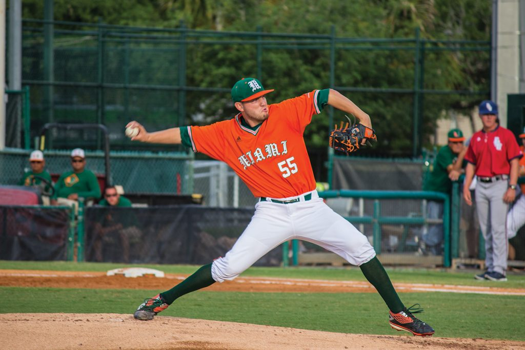 Sophomore right-hander Jesse Lepore (55) throws a pitch during the men's baseball 4-3 loss to FAU Wednesday night at Alex Rodriguez Park at Mark Light Field. The Canes are preparing for their series against Virginia this upcoming weekend. Giancarlo Falconi // Staff Photographer
