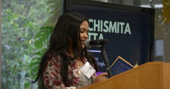 English Ph.D Candidate Suchismita Dutta reads a passage from Lady Chatterly's Lover during Richter Library's Banned Books Week Read Out Wednesday afternoon. Josh White // Contributing Photographer