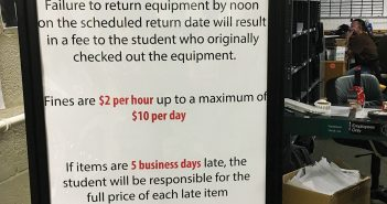 The School of Communication Equipment room instituted a new late fee policy at the beginning of this academic year. Isabella Cueto // News Editor