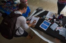 As a part of National Voter Registration Day on Tuesday, the University of Miami's chapter of Get Out The Vote hosted a registration drive where junior Eli Furman and other students could register to vote. Nick Gangemi // Contributing Photographer