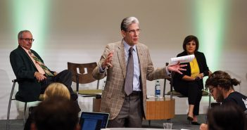 President Julio Frenk leads a meeting about research and innovation  Wednesday morning in the Shalala Student Center as part of his Town Hall series. Hunter Crenian // Staff Photographer