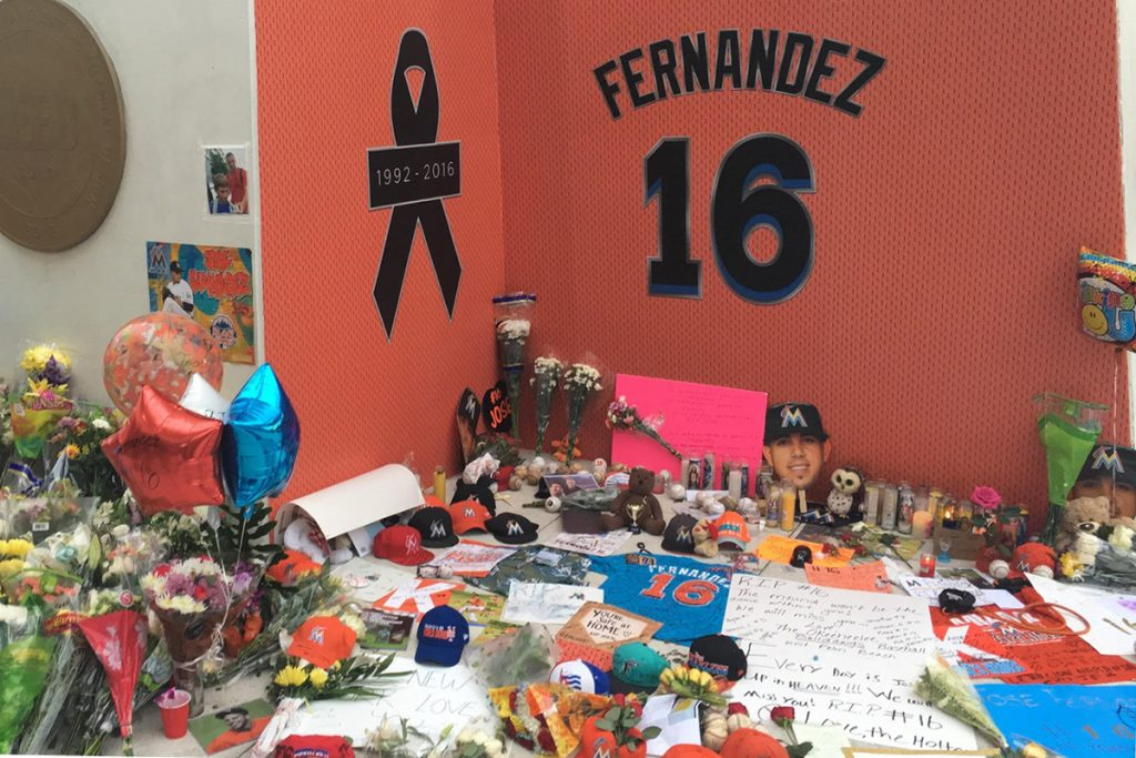 Fans memorialize Jose Fernandez before Monday night's game against the New York Mets at Marlins Park. Angela De Rojas // Contributing Photographer
