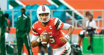Junior quarterback Brad Kaaya (15) rolls to his right, looking for an open player during the football win over FAMU in August. Kaaya has the potential to be a prime contender for the coveted Heisman Trophy. Josh White // Contributing Photographer
