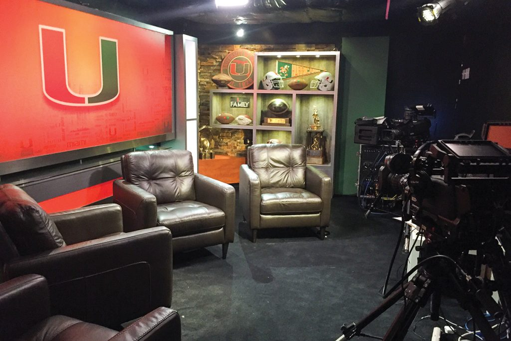 The University of Miami Department of Athletics added an in-house studio to their complex for The Mark Richt Show and Hurricane Hotline. Chloe Harrison // Contributing Photographer