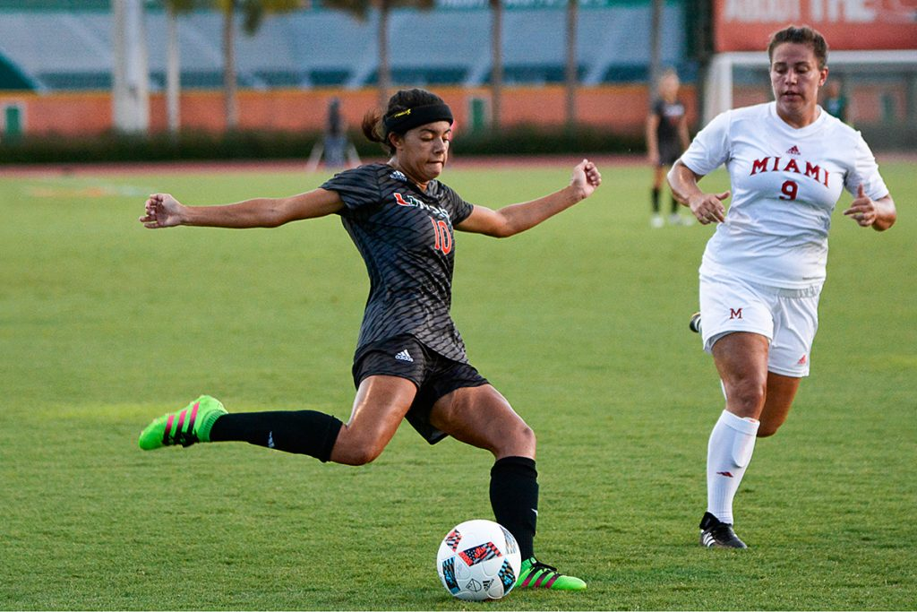 Freshman forward Kristina Fisher (10) strikes the ball during the Hurricanes' 1-0 win over Miami (OH) Friday night at Cobb Stadium. Joshua White // Contributing Photographer