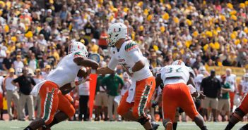Miami Hurricanes quarterback Brad Kaaya (15) hands off the ball during Saturday's game against Appalachian State. The Canes won the away game, 45-10. Dallas Linger, The Appalachian