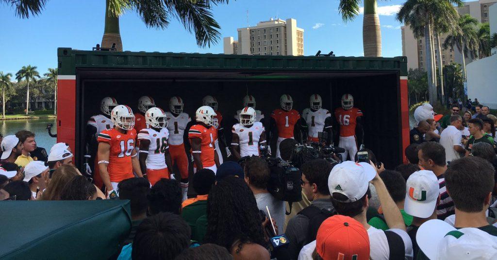 Miami unveils new football uniforms