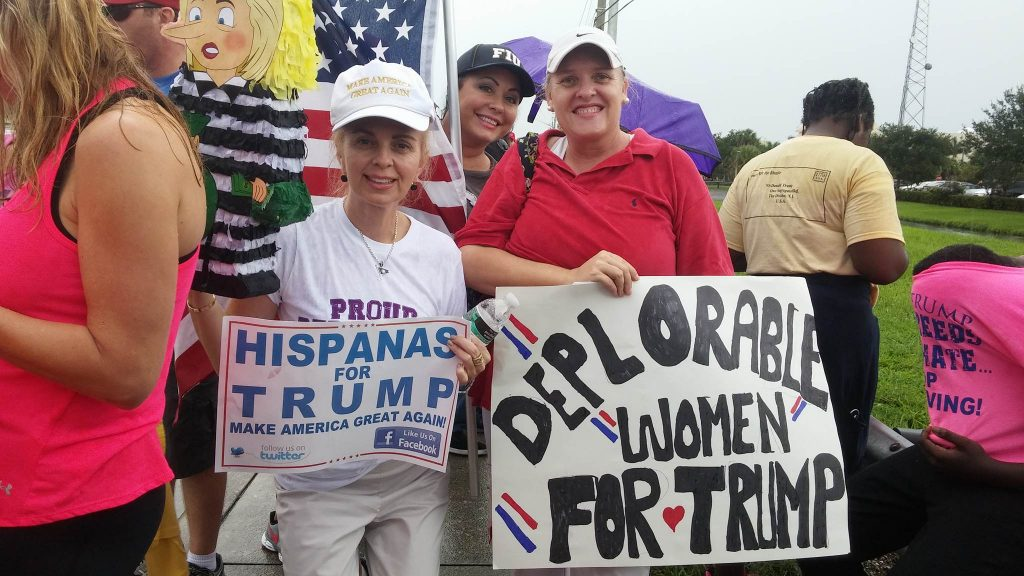 Rhonda Lopez (left) and Kathryn Schwartz (right) are showing their support for Trump. Photo by Assistant News Editor Marcus Lim