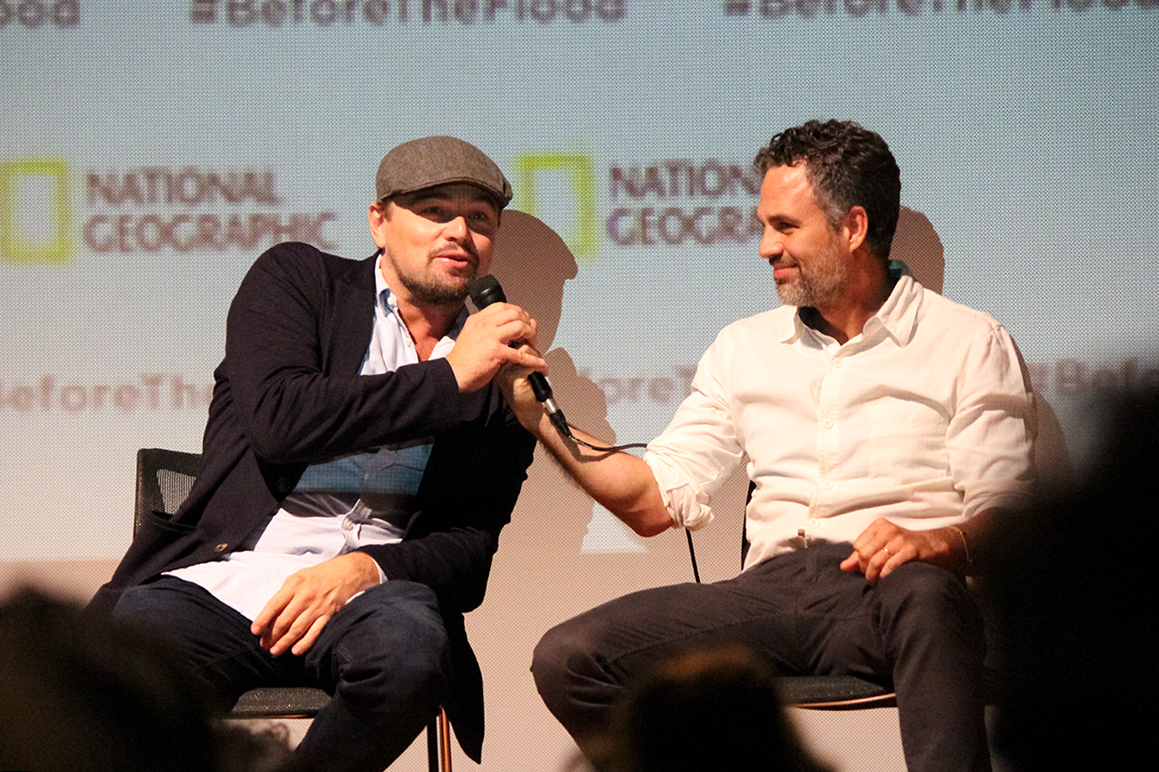Actors Leonardo DiCaprio and Mark Ruffalo participate in a Q&A session after the screening of DiCaprio's