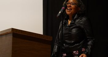 Daphne A. Brooks speaks Thursday evening in Cosford Cinema about Beyoncé and feminism. Hunter Crenian // Staff Photographer