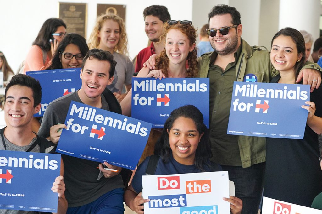 Actor Josh Gad showed his support for Democratic nominee Hillary Clinton by tabling with the College Democrats in the breezeway Wednesday afternoon. Gad talked and posed with students for photos. The College Democrats were passing out tickets to see singer Jennifer Lopez this Saturday in Bayfront Park as part of the Love Trumps Hate Concert Series. Early voting is happening from now until November 6, with Election Day on November 8. Hunter Crenian // Staff Photographer
