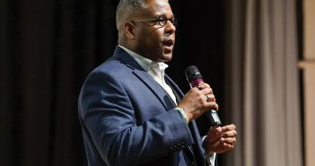 Lieutenant Colonel Allen West, former congressman of Florida's 22nd District spoke to The Election class Tuesday night about Donald Trump and the state of the country. Hunter Crenian // Staff Photographer