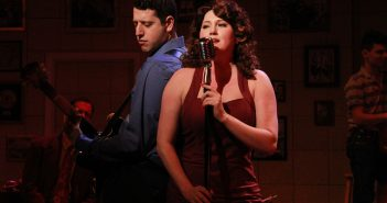 Jeremy Sevelovitz (Carl Perkins) and Lindsey Corey in the  Actors' Playhouse production of Million Dollar Quartet.  Photo by Alberto Romeu.