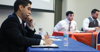 Law students Zachary Applebaum, Ian Campaign, Frank Florio and Max Frizalone participate in a political debate hosted by Get Out The Vote in the Shalala Student Center Wednesday night. Hunter Crenian // Staff Photographer