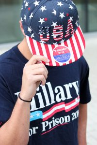 "Senior Ben Brotherton shows his support for the Republican presidential nominee with his ""Hillary for Prison 2016"" shirt. Hallee Meltzer // Photo Editor"