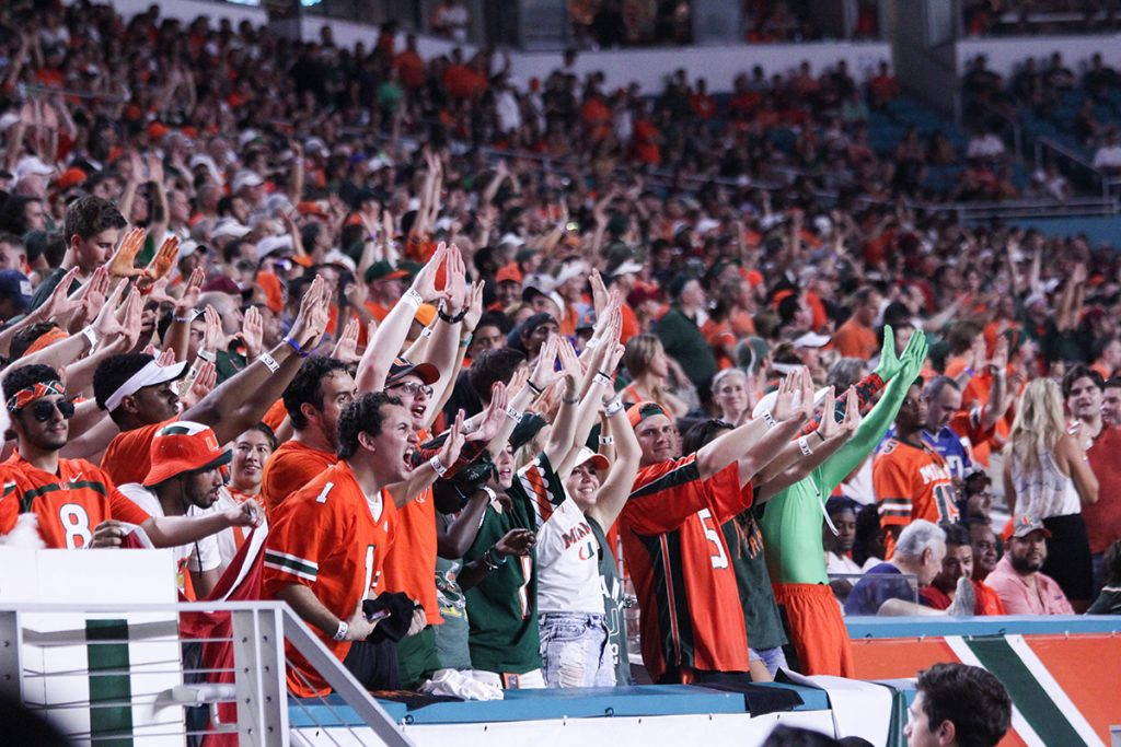 Students in attendance at Hard Rock Stadium during the football game against FSU kept the stadium energized to the very end. Victoria McKaba // Photo Editor