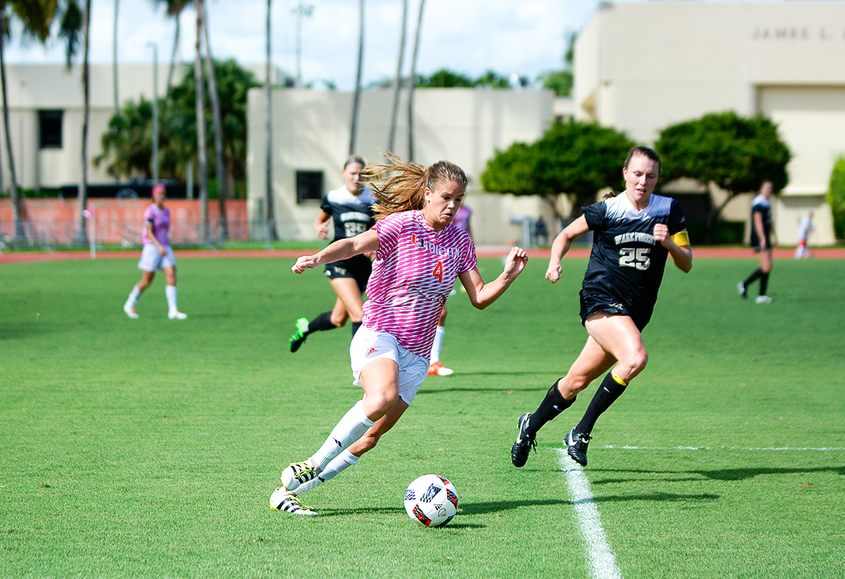 miami soccer sets school record with third straight acc win the