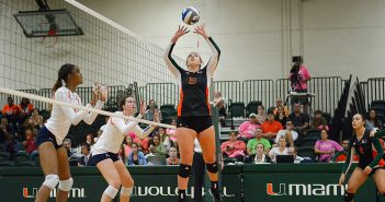 Freshman setter Hannah Sorensen (3) sets the ball for the Hurricanes during their 3-1 loss to Syracuse Sunday afternoon in the Knights Sports Complex. Josh White // Contributing Photographer