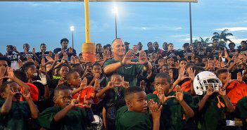 Mark Richt visits Mills Pond Park in Ft. Lauderdale last Thursday to speak to the Ft. Lauderdale Hurricanes, a local, youth football team. Josh White // Contributing Photographer