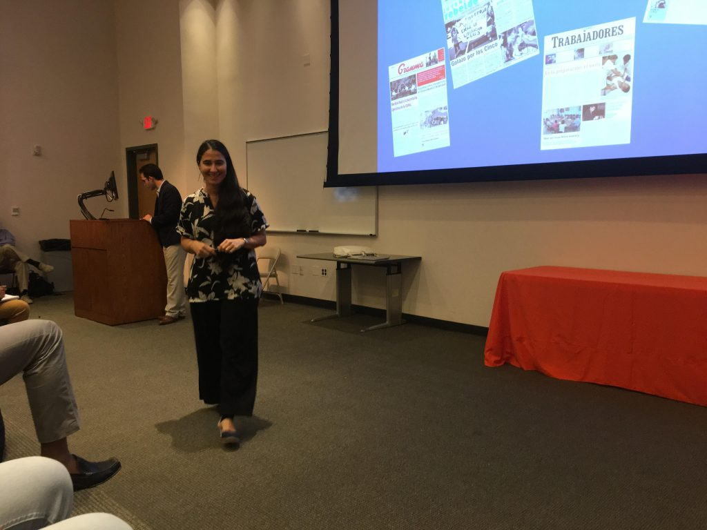 Cuban journalist Yoani Sánchez speaks to students in the School of Communication about how she found her own version of freedom of the press in the form of a USB. Sánchez is the first UM Distinguished Presidential Fellow.  Katie Hovan // Contributing Photographer