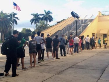 Voters line up at the Watsco Center at 7:30 a.m. // Julie Harans, Editor in Chief