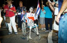 A prop skeleton is dressed to represent the late Fidel Castro during the rally that took place at the Bay of Pigs memorial Wednesday in Little Havana. Hunter Crenian // Staff Photographer