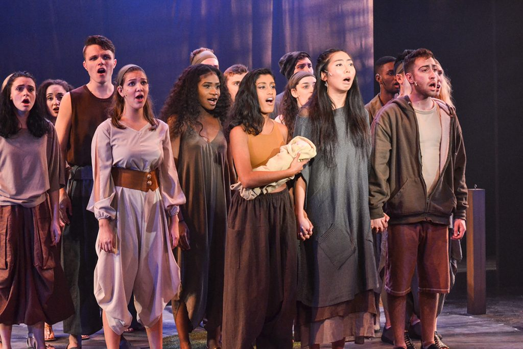 "The cast of ""Children of Eden"" acts as a chorus of storytellers during the show's performance. ""Children of Eden"" runs through November 19 at The Jerry Herman Ring Theatre. Amanda Prats // Staff Photographer"