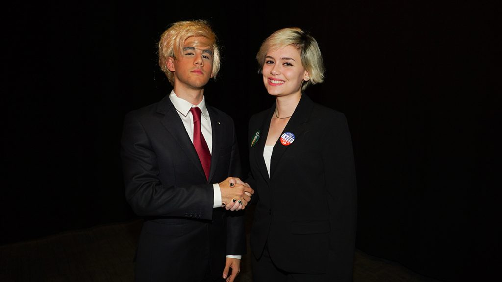 Students impersonate Donald Trump and Jill Stein in the Fieldhouse Tuesday night. Hunter Crenian // Staff Photographer