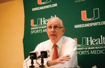 Coach Jim Larrañaga addresses the media about the state of the team during a press conference after the win against Western Carolina University Friday night. Josh White // Staff Photographer