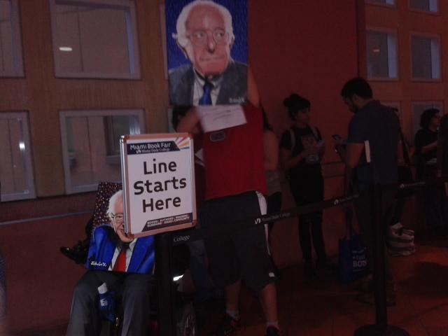People lining up to see Sen. Bernie Sanders speak at the Miami Book Fair.
