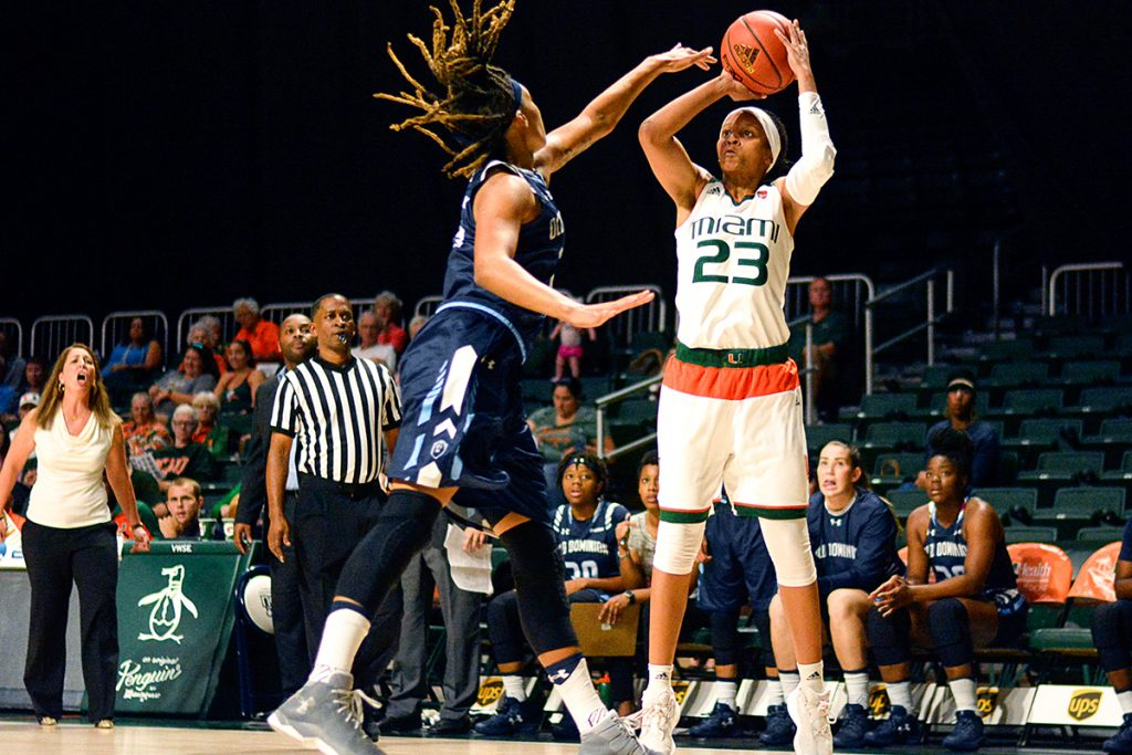 Jessica Thomas, Keyona Hayes combine for 39 points, lead Miami past Old Dominion 66-56