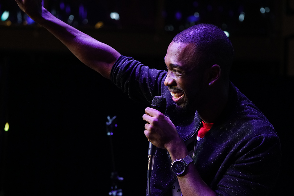 Actor Jay Pharoah waves to the crowd at the Rathskellar after his stand-up performance Thursday night. Hunter Crenian // Senior Photographer
