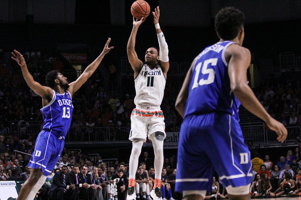 Bruce Brown explodes to score 25, leads Miami Hurricanes to 55-50 victory over No. 10 Duke Blue Devils on Senior Day