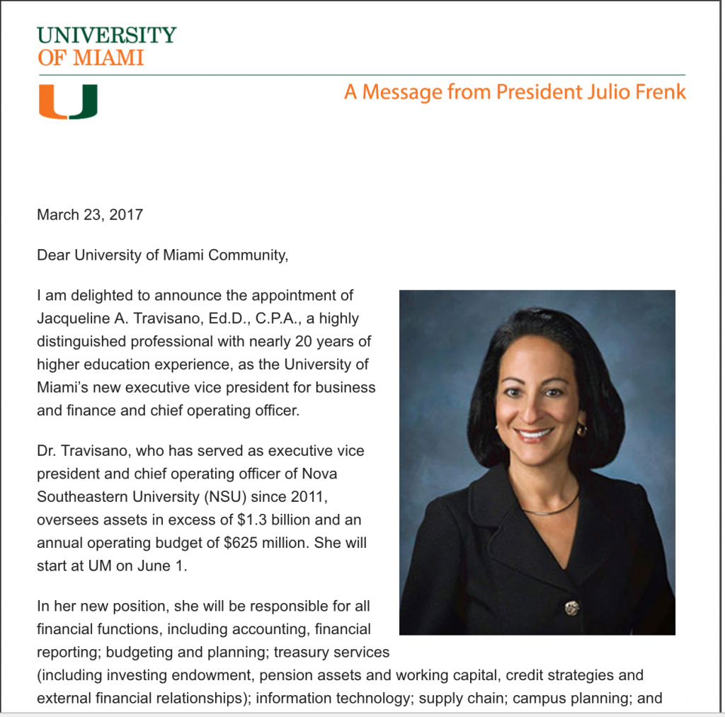 UM announces Jacqueline Travisano as new COO