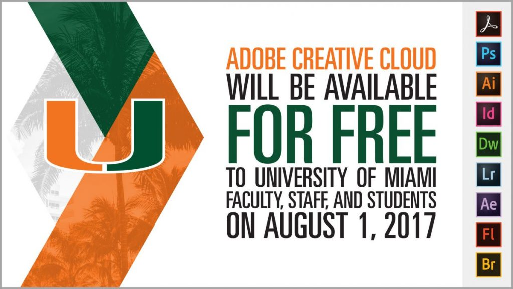 Adobe Creative Cloud available for free to students, faculty and staff starting this August